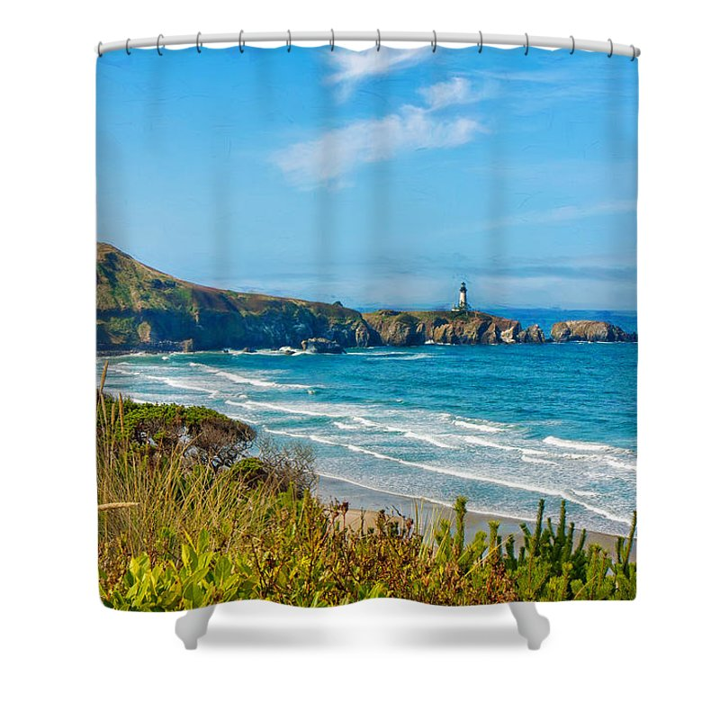 Architecture Shower Curtain featuring the photograph Oregon Coast Lighthouse by John M Bailey