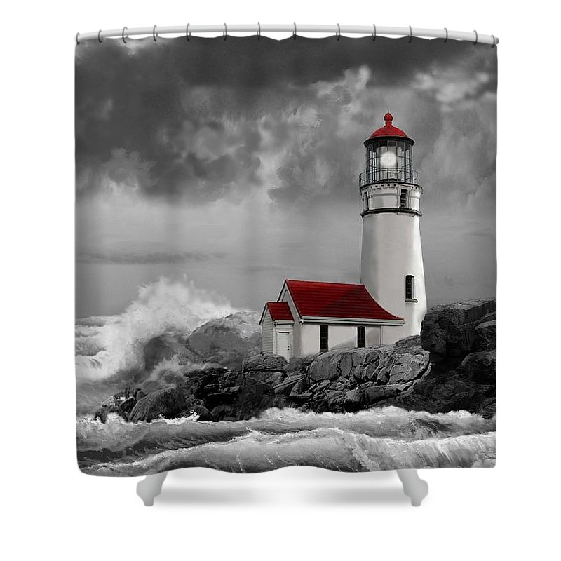 Oregon Lighthouse Cape Blanco With Stormy Sea Shower Curtain Featuring The Painting