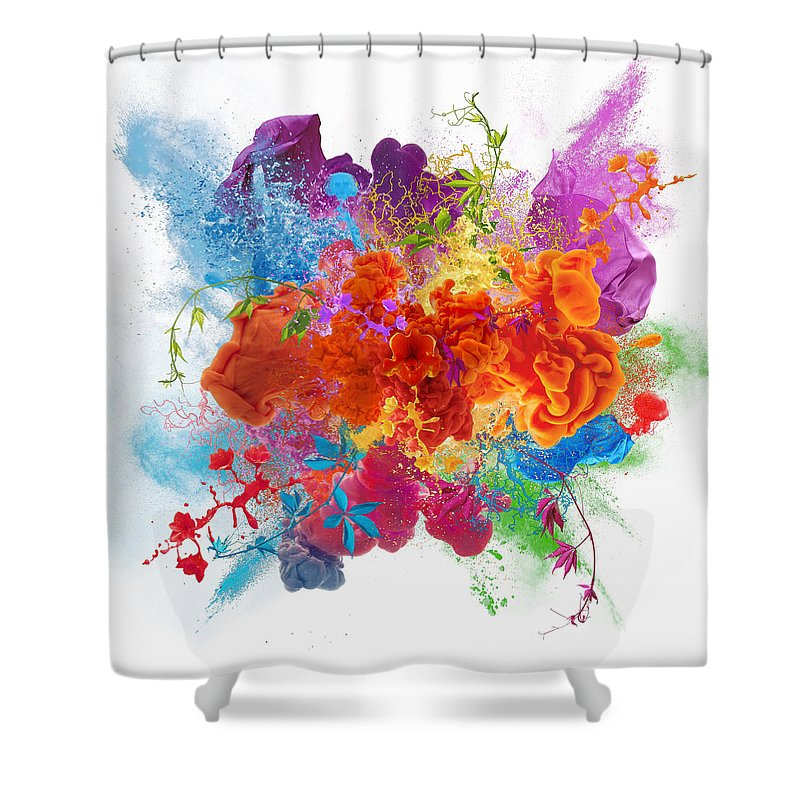 Material Shower Curtain featuring the digital art Orgasm by Vizerskaya