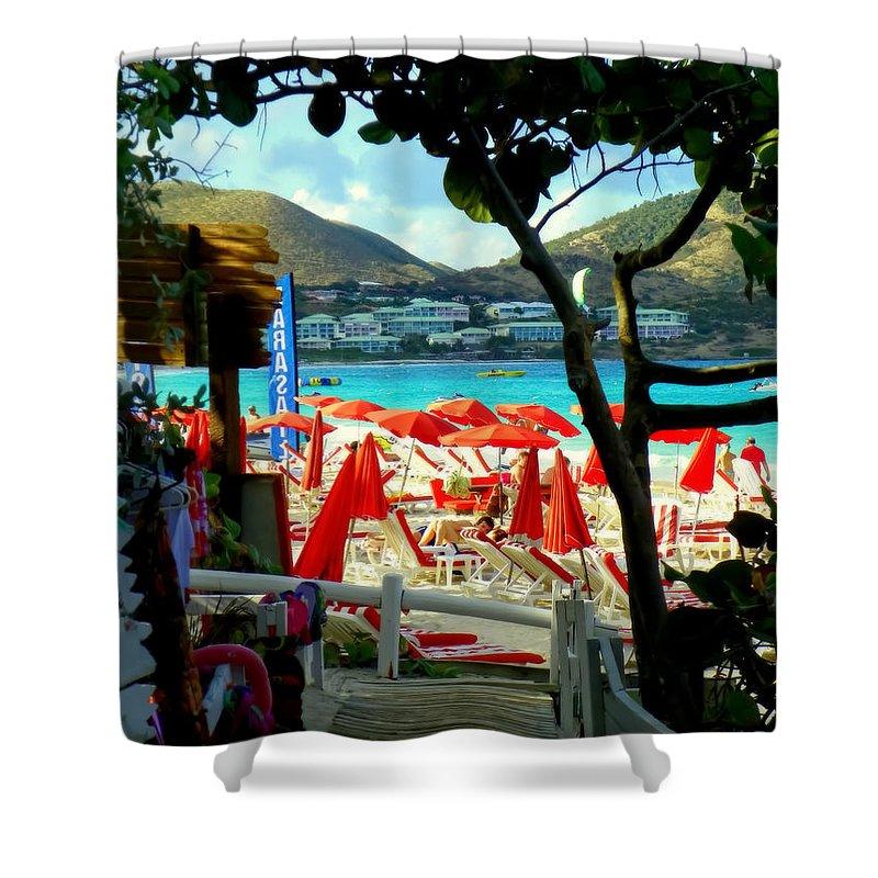 Beaches Shower Curtain featuring the photograph Orient Beach Peek by Karen Wiles