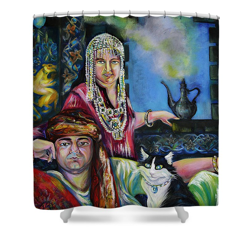 Group Portrat Shower Curtain featuring the painting Oriental Fairy Tale. First Part by Anna Duyunova