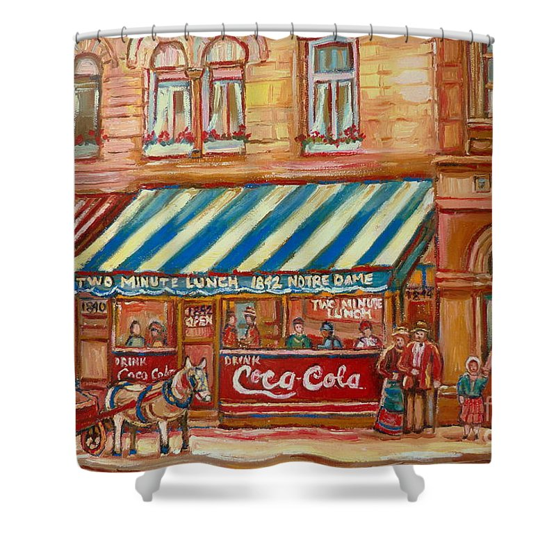Montreal Scenes Shower Curtain featuring the painting Original Bank Notre Dame Street by Carole Spandau