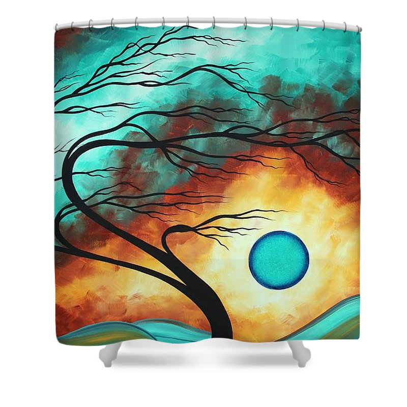 Abstract Shower Curtain featuring the painting Original Bold Colorful Abstract Landscape Painting Family Joy I By Madart by Megan Duncanson