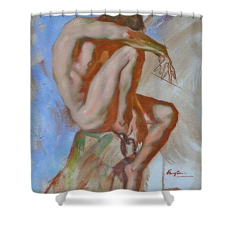 Oil Painting Shower Curtain featuring the painting Original Impression Oil Painting Gay Man Body Art Male Nude -189 by Hongtao   Huang