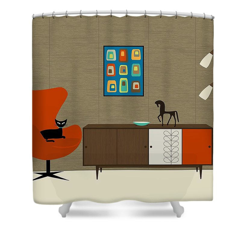 Orla Kiely Shower Curtain Featuring The Digital Art Cabinet By Donna Mibus