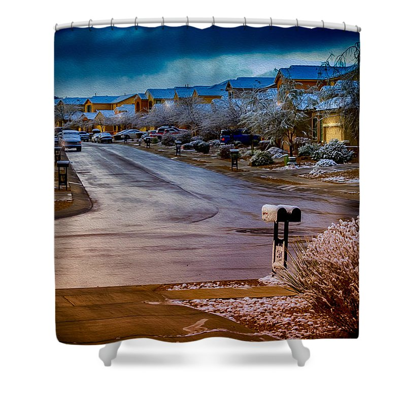 Myhaver Photography Shower Curtain featuring the photograph Oro Valley Winter No.54 by Mark Myhaver