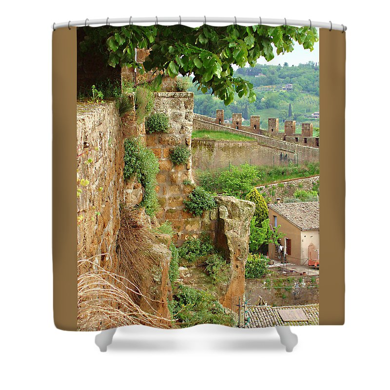 Orvieto Battlement Shower Curtain featuring the photograph Orvieto Battlement by Ellen Henneke