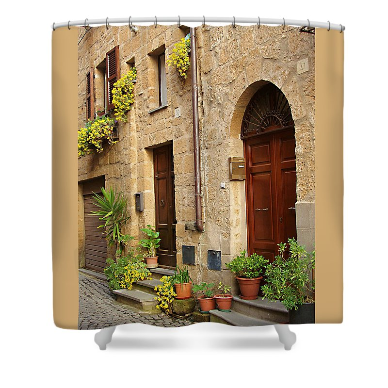 Orvieto Homes Shower Curtain featuring the photograph Orvieto Homes by Ellen Henneke