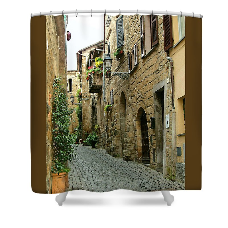 Orvieto Lane Shower Curtain featuring the photograph Orvieto Lane by Ellen Henneke