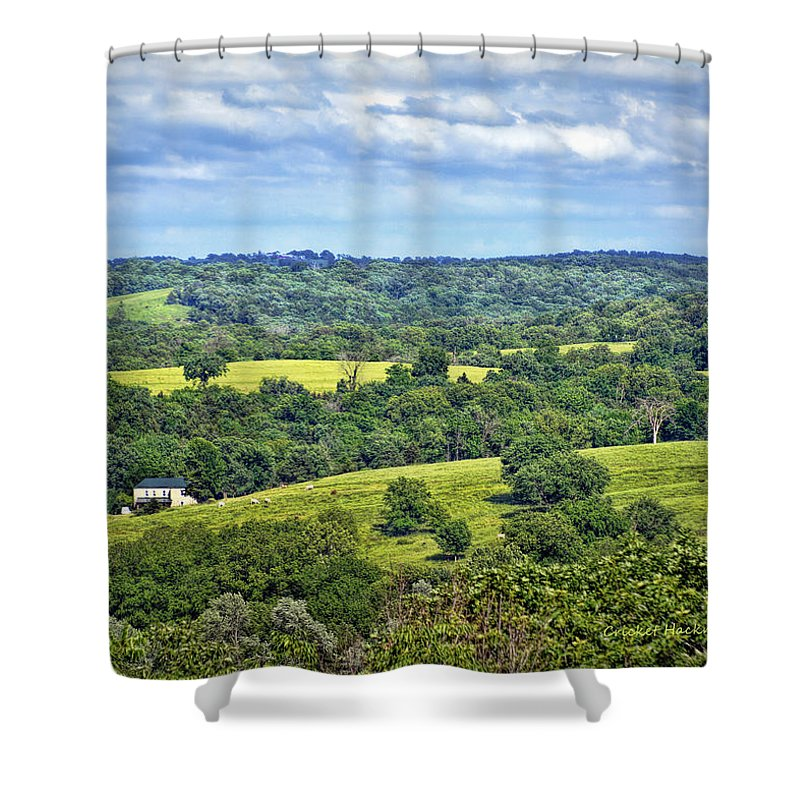 View Shower Curtain featuring the photograph Osage County Lookout by Cricket Hackmann