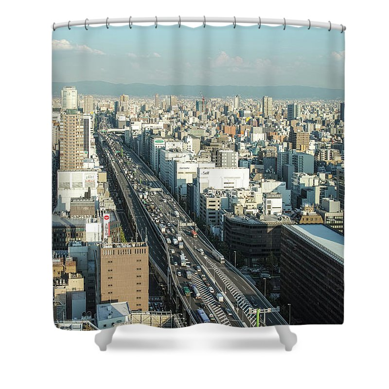 Osaka Prefecture Shower Curtain featuring the photograph Osaka Cityscape by I Love Photo And Apple.