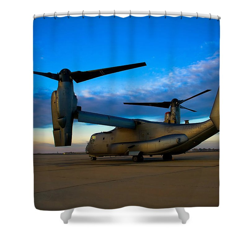 V22 Shower Curtain featuring the photograph Osprey Sunrise Series 1 Of 4 by Ricky Barnard