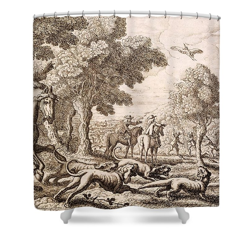 Hunt Shower Curtain Featuring The Painting Otter Hunting By A River Engraved Francis Barlow