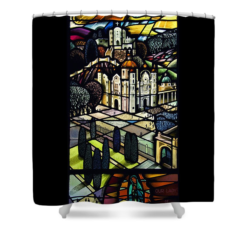 Stained Glass Shower Curtain featuring the photograph Our Lady Of Guadalupe by Thomas Woolworth