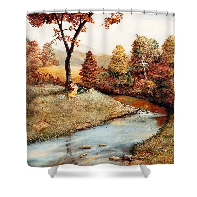 Rural Shower Curtain featuring the painting Our Secret Place by Duane R Probus