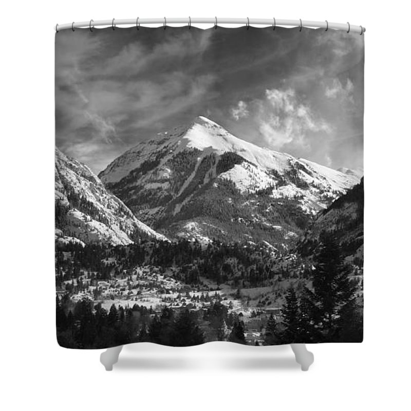 Elevation High Rugged Amazing Brett Pfister Ouray Black White B&w Town Ski Shower Curtain featuring the photograph Ouray Colorado by Brett Pfister
