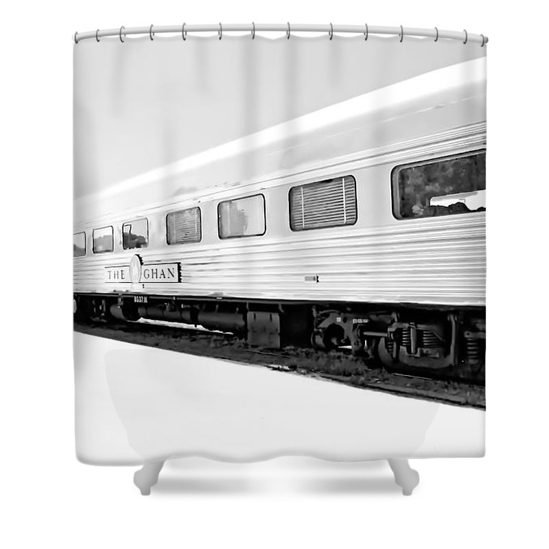 Digital Black And White Photo Shower Curtain featuring the digital art Out In The Open Bw by Tim Richards