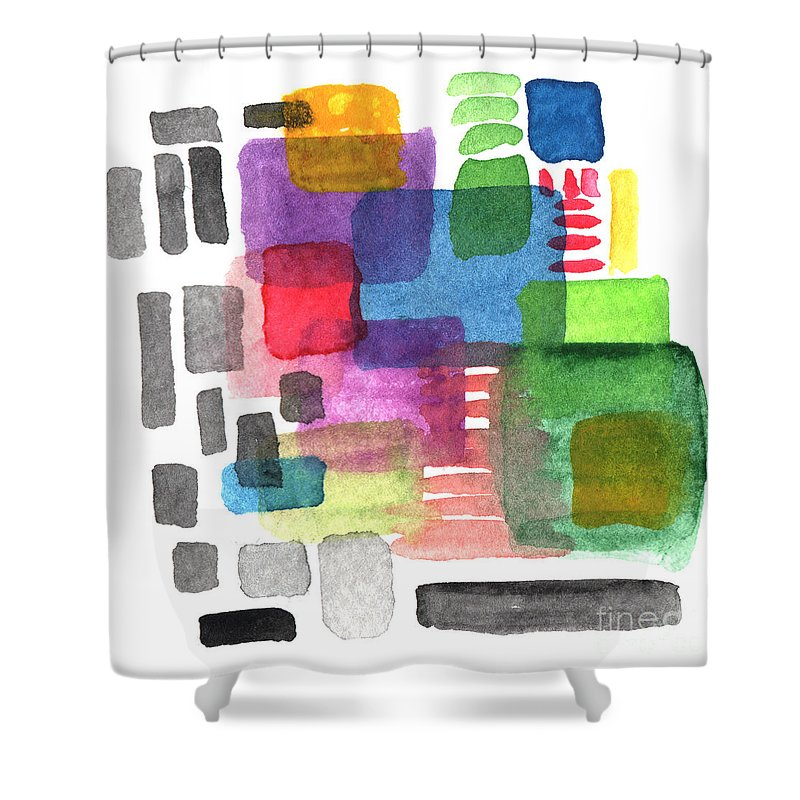 Squares Shower Curtain featuring the painting Out Of The Box by Linda Woods