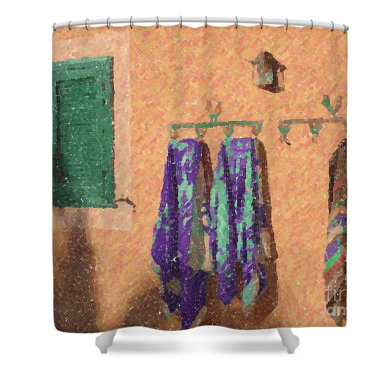 Pool Shower Curtain featuring the photograph Out Of The Pool by Barbie Corbett-Newmin