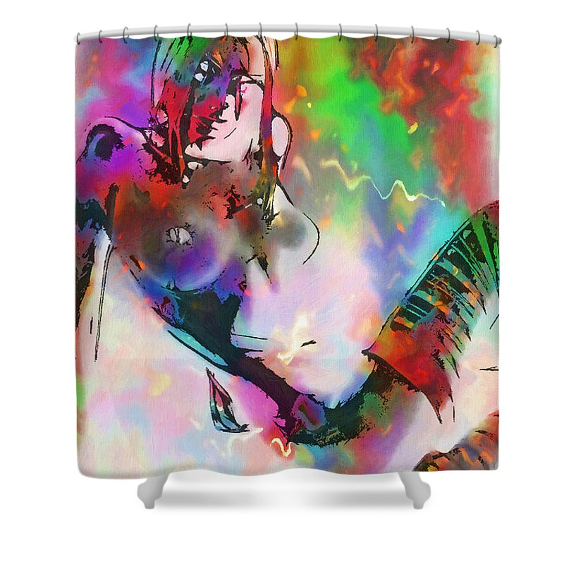 Color Colorful Girl Female Woman Nude Naked Boobs Tits Stocking Lingerie Erotic Sensual Mystic Fantasy Painting Shower Curtain featuring the painting Out Off The Twilight Zone by Steve K