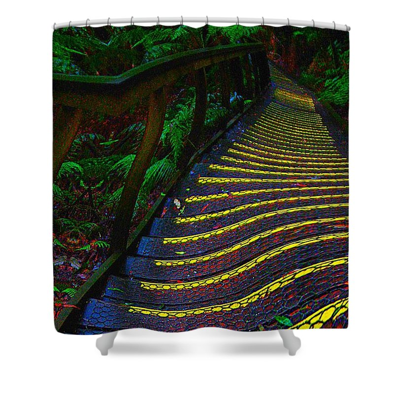 Abstract Shower Curtain featuring the digital art Out There by Blair Stuart