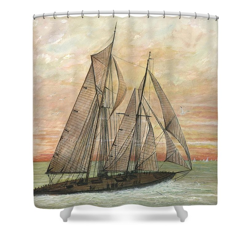 Sailboat; Ocean; Sunset Shower Curtain featuring the painting Out To Sea by Ben Kiger