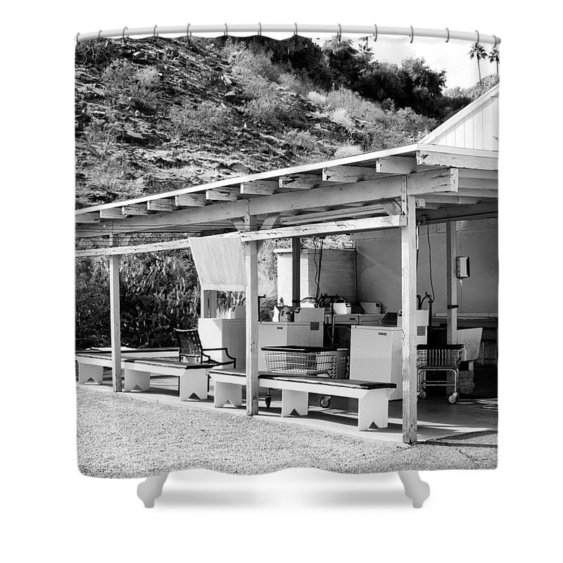 Urban Decay Shower Curtain featuring the photograph Outdoor Laundry Bw Palm Springs by William Dey