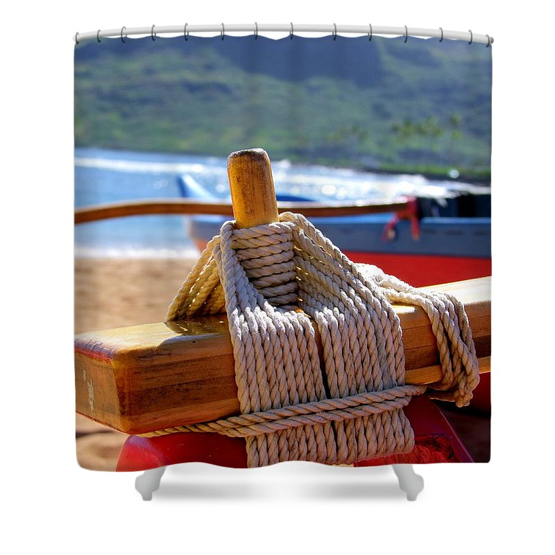 Outrigger Shower Curtain featuring the photograph Outrigger Rigging by Mary Deal