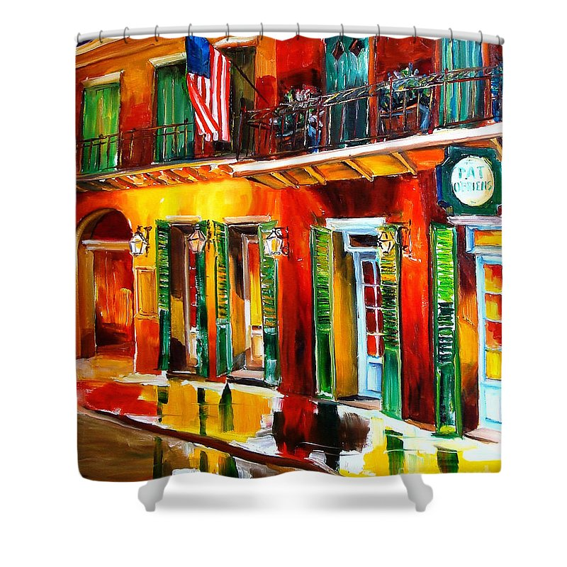 New Orleans Shower Curtain featuring the painting Outside Pat O'brien's Bar by Diane Millsap