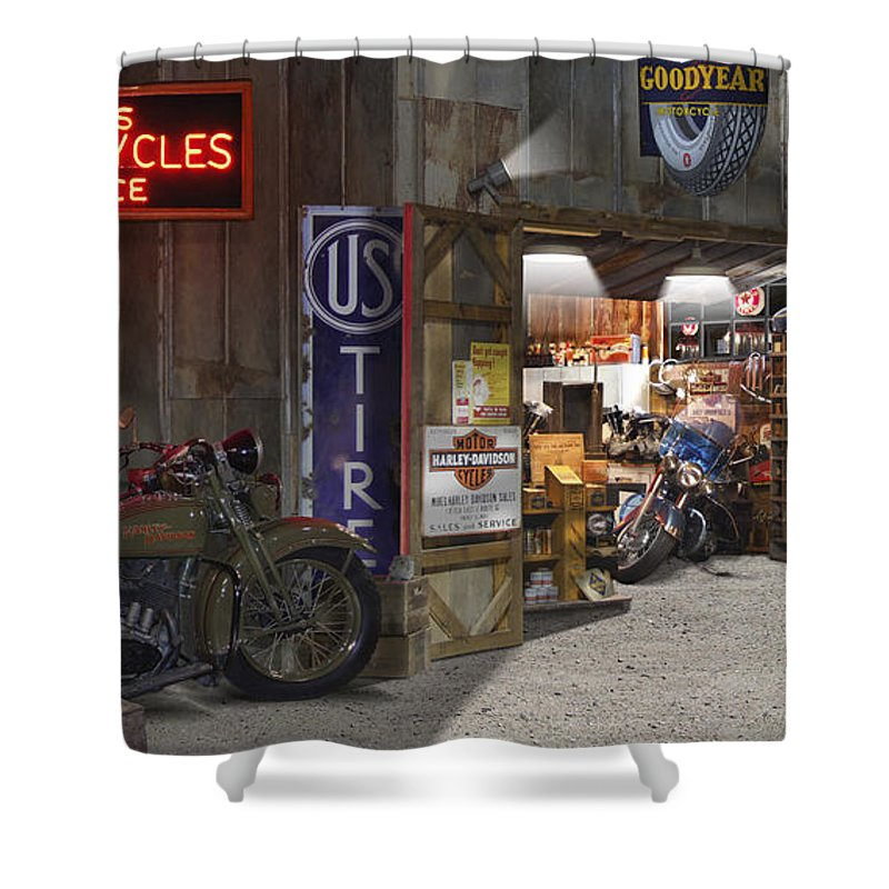 Motorcycle Shop Shower Curtain featuring the photograph Outside The Motorcycle Shop by Mike McGlothlen