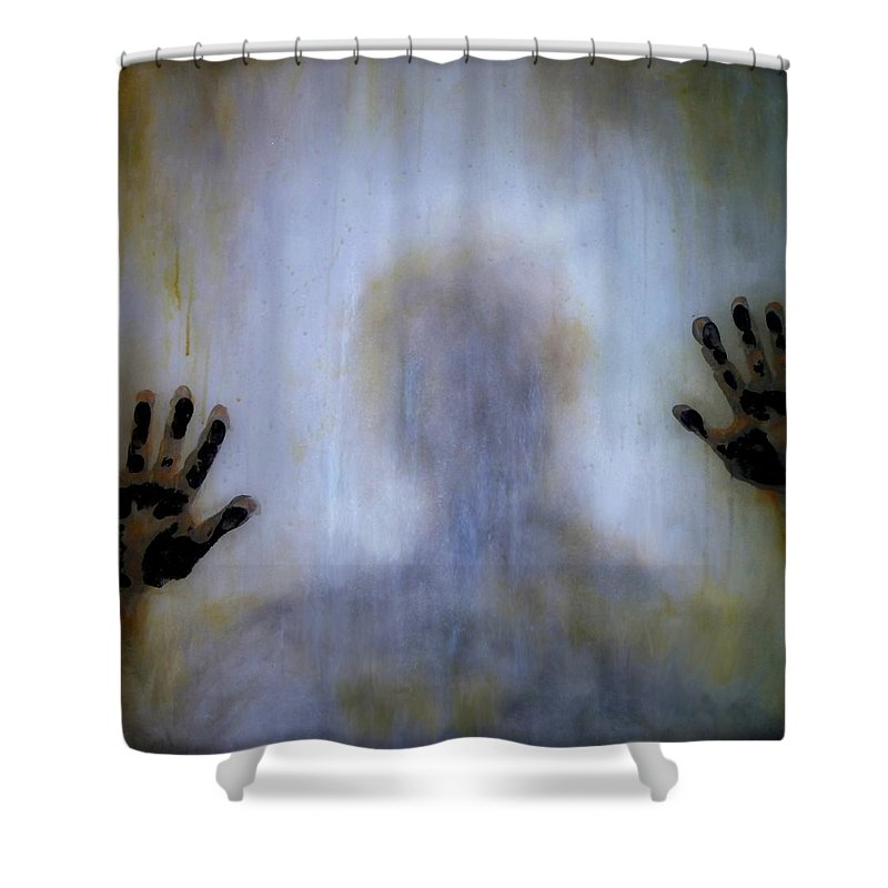 Original Art Shower Curtain featuring the painting Outsider by Lilia D