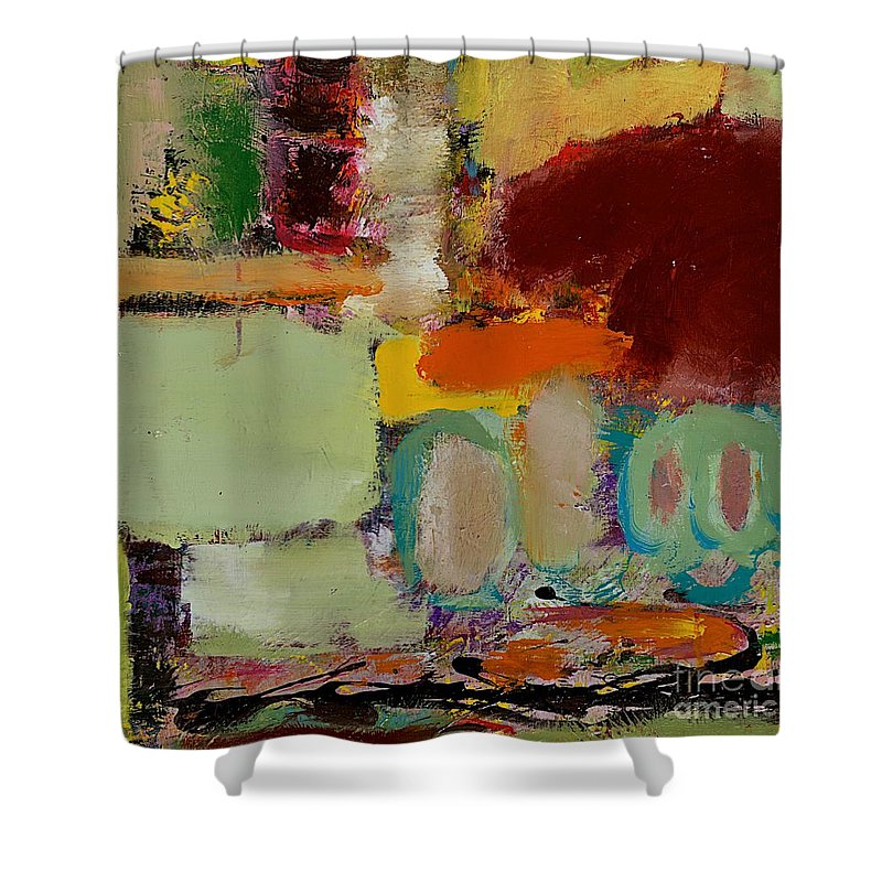 Landscape Shower Curtain featuring the painting Over There by Allan P Friedlander