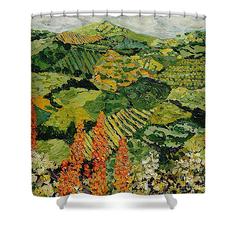 Landscape Shower Curtain featuring the painting Overgrown by Allan P Friedlander