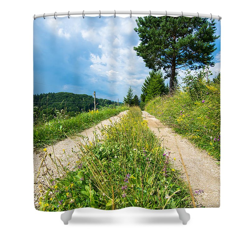 Road Shower Curtain featuring the photograph Overgrown Rural Path Up A Hill by Andreas Berthold