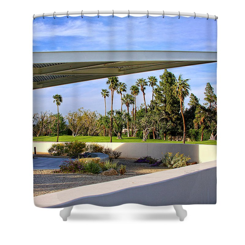 Palm Springs Shower Curtain featuring the photograph OVERHANG Palm Springs Tram Station by William Dey