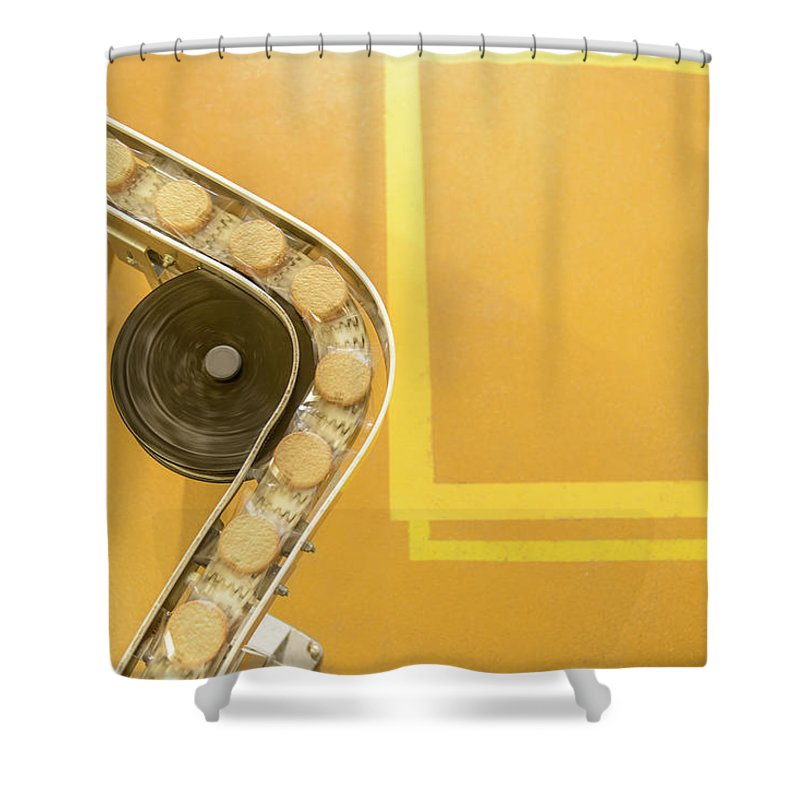 Manufacturing Equipment Shower Curtain featuring the photograph Overhead View Of Freshly Made Biscuits by Monty Rakusen