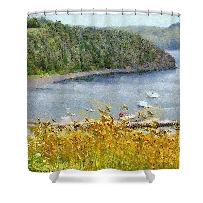Canadian Shower Curtain featuring the painting Overlooking the Harbor by Jeffrey Kolker