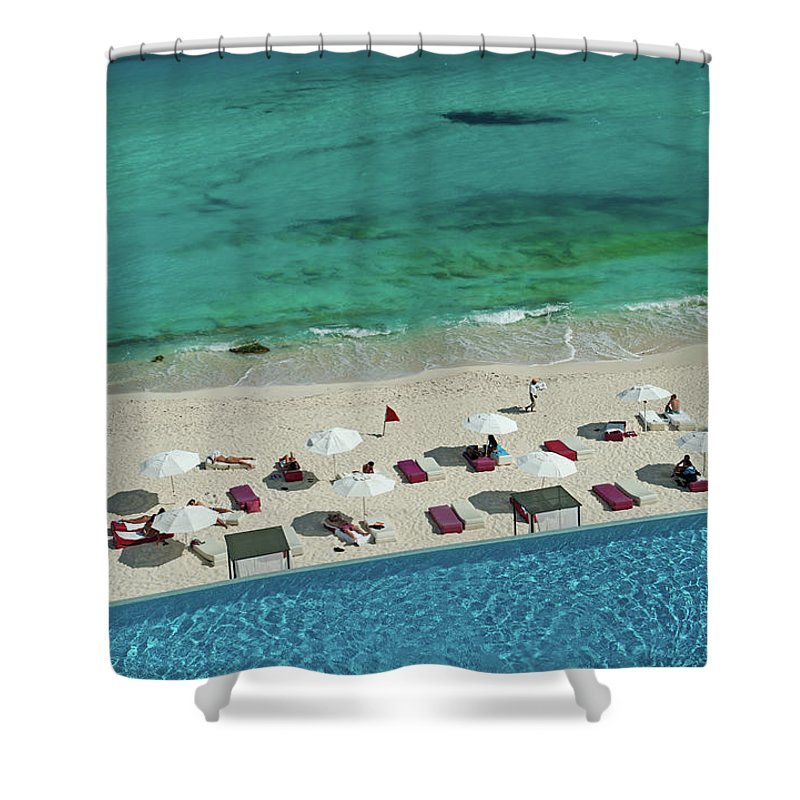 People Shower Curtain featuring the photograph Overview Of Woman Swimming In Pool by Dallas Stribley