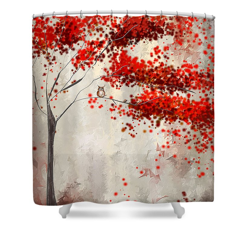 Gray And Red Art Shower Curtain Featuring The Painting Owl In Autumn By  Lourry Legarde