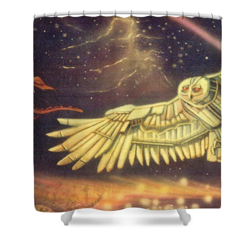 Shower Curtain featuring the painting owl by Keith Spence