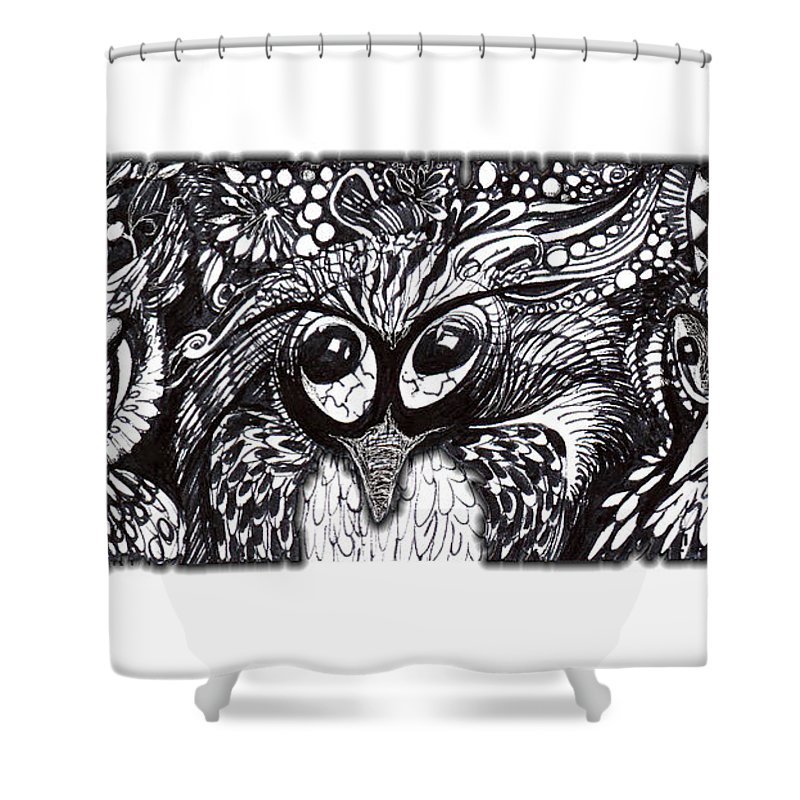 Adria Trail Shower Curtain featuring the drawing Owls Eyes by Adria Trail