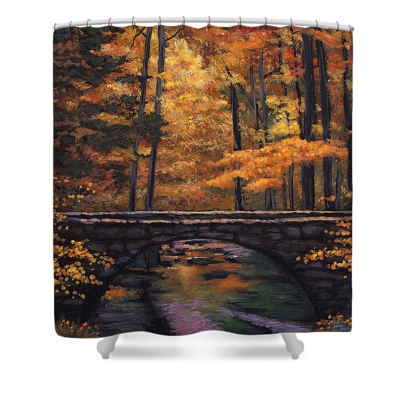 Southwest Landscape Shower Curtain featuring the painting Ozark Stream by Johnathan Harris