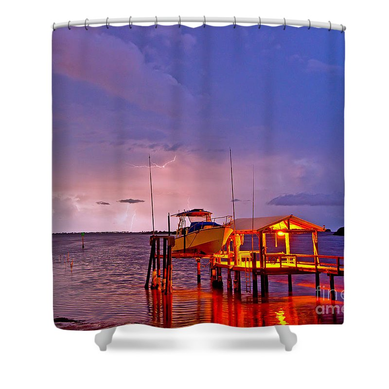 Florida Shower Curtain featuring the photograph Ozona Dock by Stephen Whalen