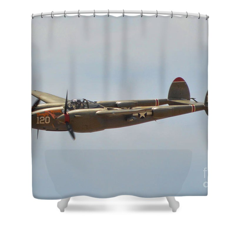 Lockheed P-38l Lighting Shower Curtain featuring the photograph P-38l Lighting - Thoughts Of Midnight by Tommy Anderson