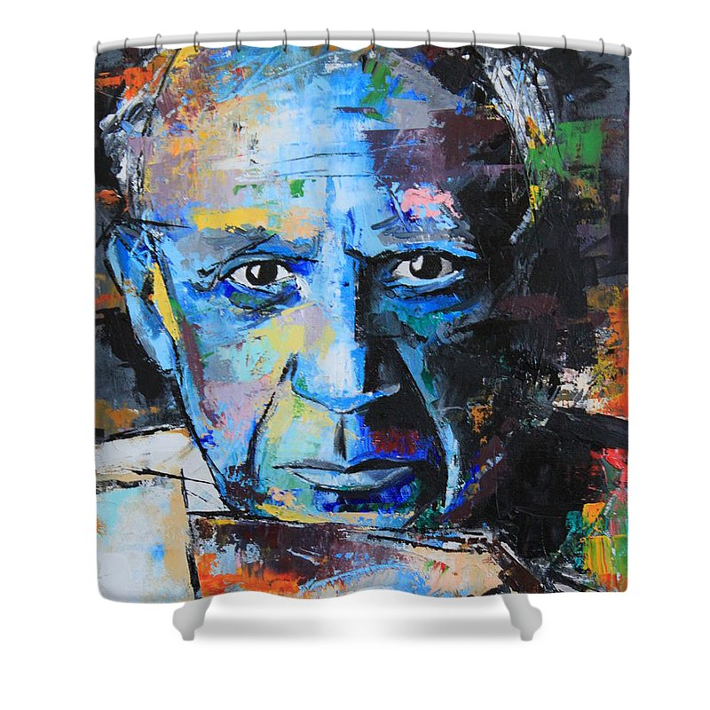 Pablo Picasso Shower Curtain Featuring The Painting By Richard Day
