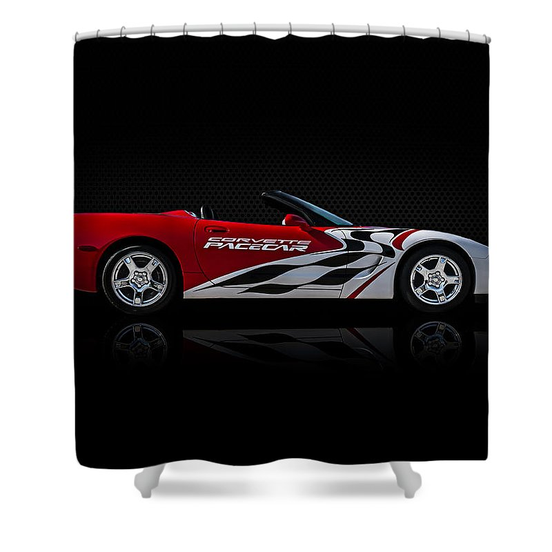 Chevy Shower Curtain featuring the digital art Pace Maker by Douglas Pittman