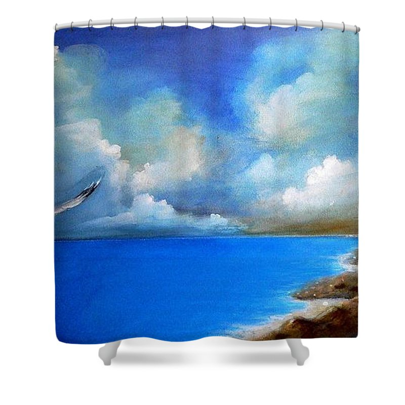 Acrylics Shower Curtain featuring the painting Pacific Highway 1 by Artist ForYou