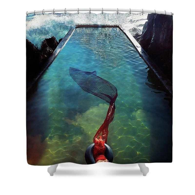 Human Arm Shower Curtain featuring the photograph Pacific Islander Woman In Mermaid by Colin Anderson Productions Pty Ltd