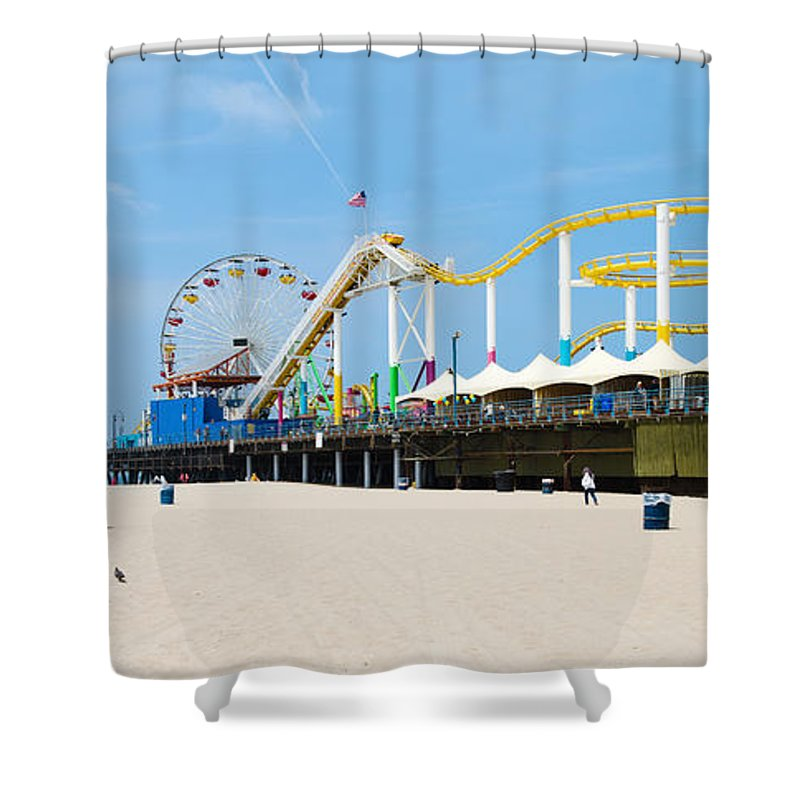 Photography Shower Curtain featuring the photograph Pacific Park, Santa Monica Pier, Santa by Panoramic Images