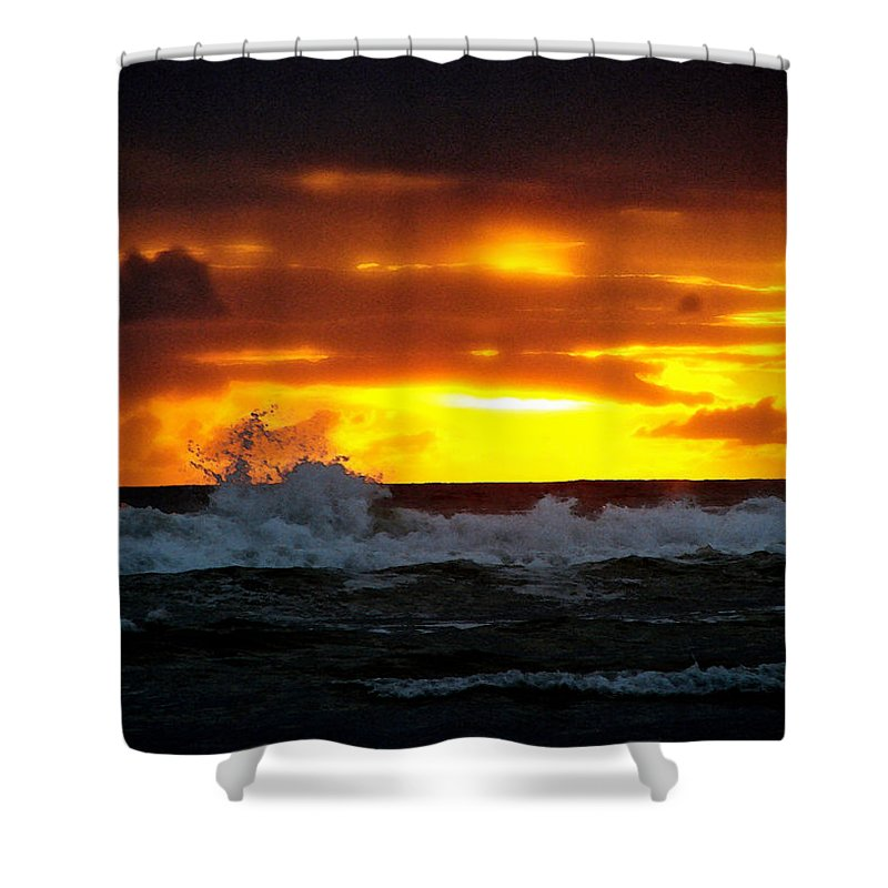 Pacific Ocean Shower Curtain featuring the digital art Pacific Sunset Drama by Gary Olsen-Hasek